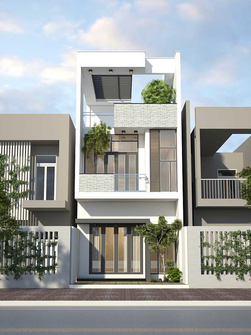 Báo giá thiết kế nhà phố 1 trệt 1 lầu sân thượng
