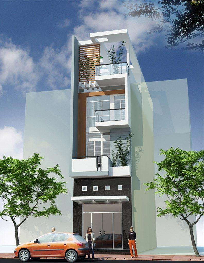 Báo giá thiết kế nhà phố 1 trệt 2 lầu sân thượng