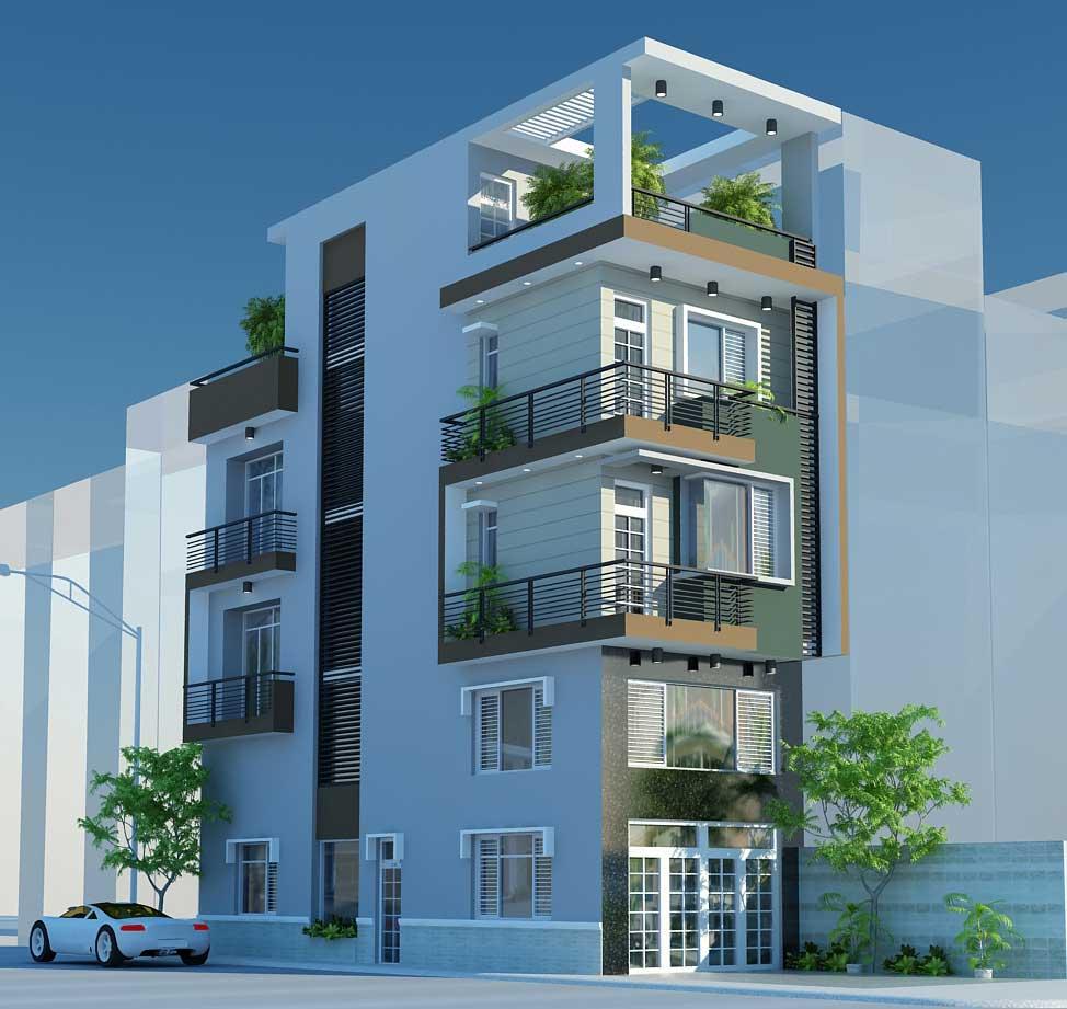 Báo giá thiết kế nhà phố 1 trệt 3 lầu sân thượng