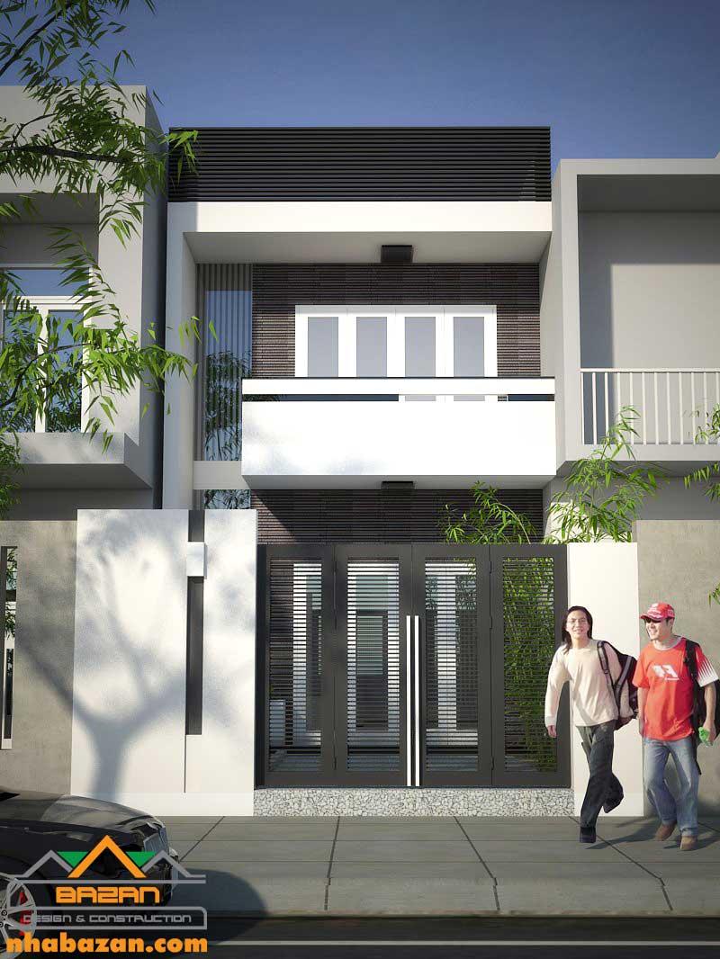 Thiết kế nhà phố 1 trệt 1 lầu đẹp hiện đại