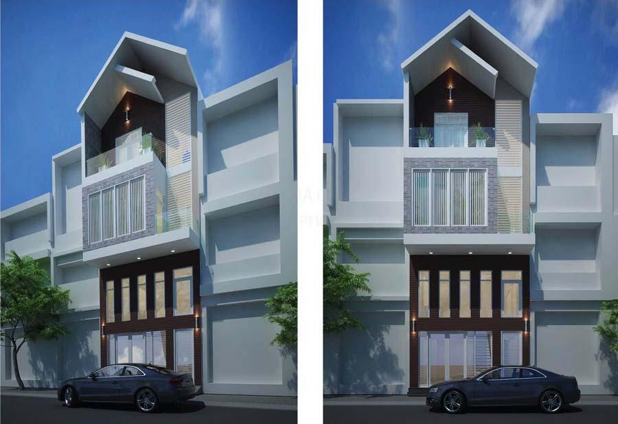 Thiết Kế Nhà Phố 1 Trệt 2 Lầu Mái Thái Đẹp 2017 - 2018
