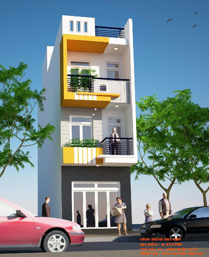 Thiết kế nhà phố 1 trệt 2 lầu đẹp