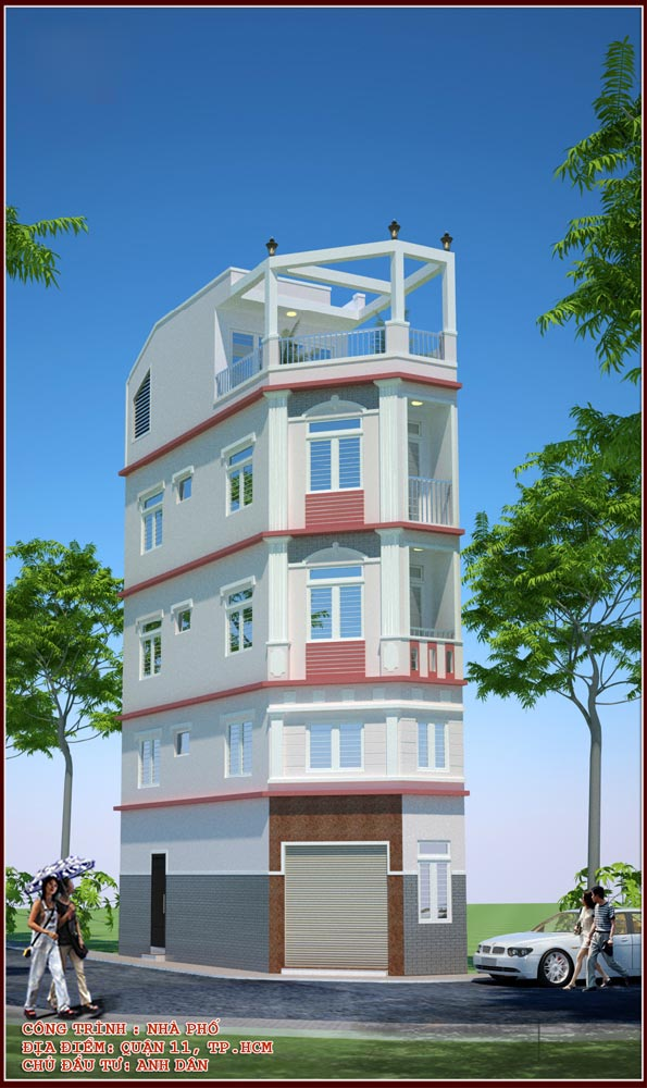 Thiết kế nhà phố căn góc 5 tầng đẹp