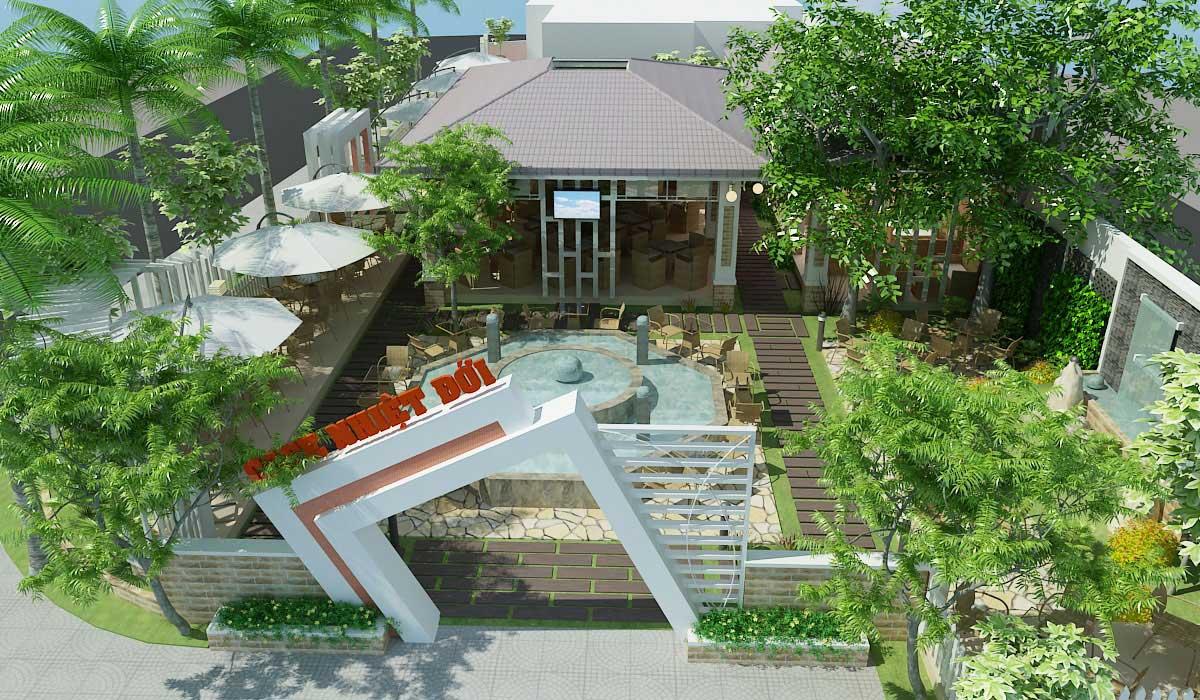 Thiết kế quán cafe sân vườn đẹp 2017