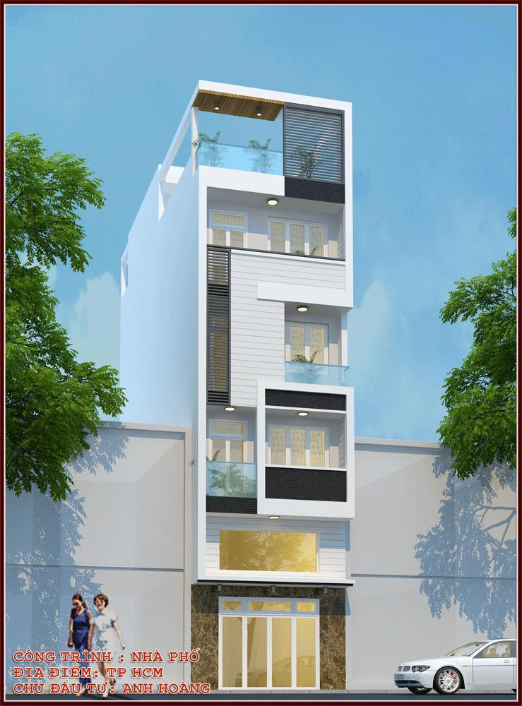 thiết kế nhà phố 1 trệt 3 lầu đẹp