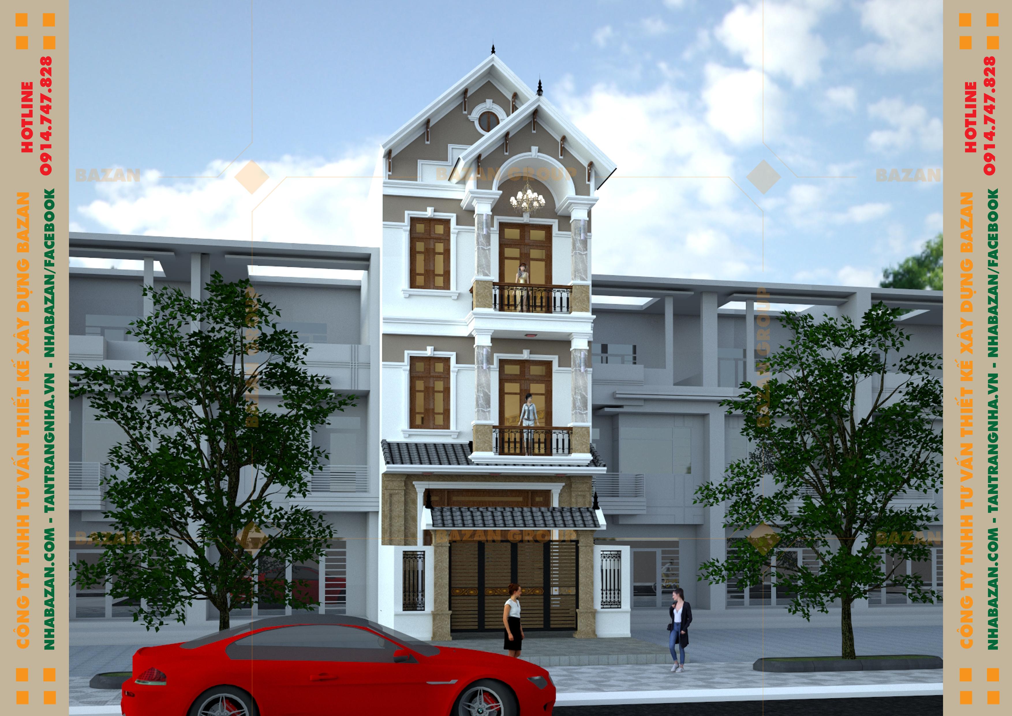 Công Trình Thiết Kế Nhà Phố 3 Tầng Tân Cổ Điển Tại Quận 12 TPHCM