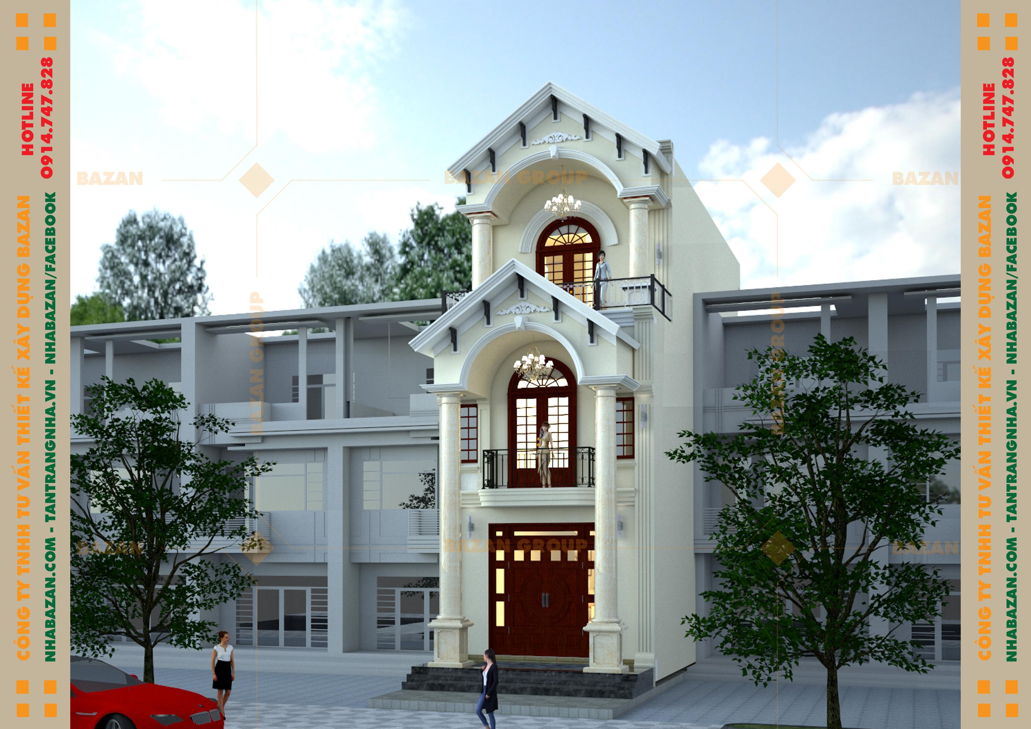 Công Trình Thiết Kế Nhà Phố 3 Tầng Tân Cổ Điển Tại Quận Gò Vấp TPHCM