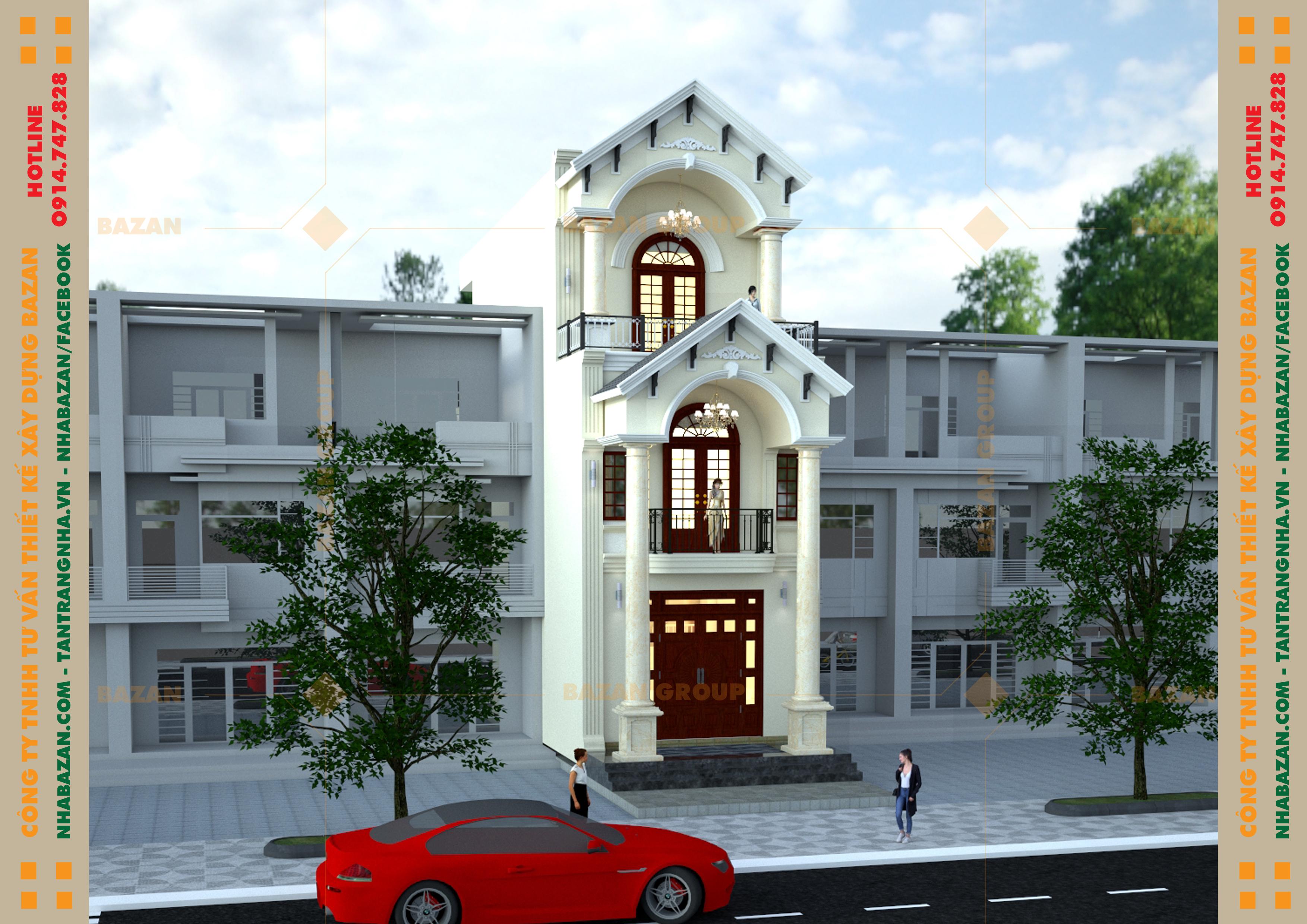 Mẫu Thiết Kế Nhà Phố 3 Tầng Tân Cổ Điển Tại Quận Gò Vấp TPHCM