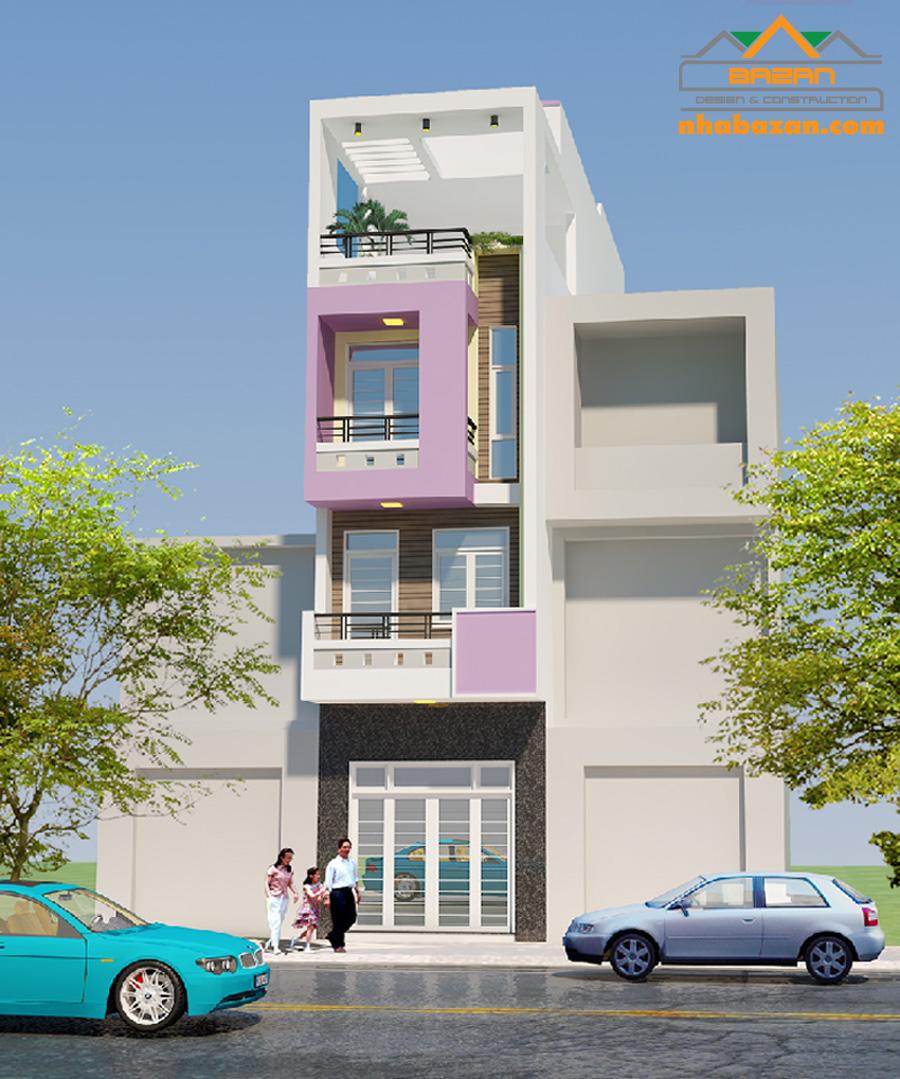 Thiết kế nhà phố 1 trệt 2 lầu sân thượng đẹp 2020