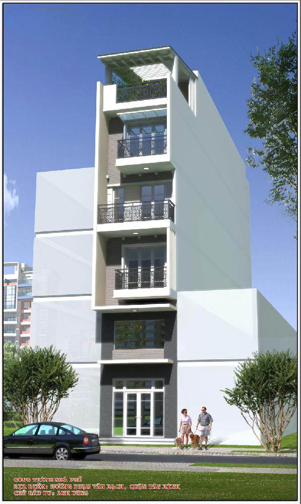 Thiết kế nhà phố đẹp hiện đại 6 tầng